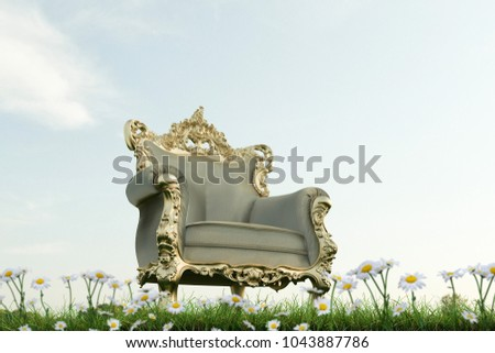 3d  illustration of a regal armchair on a green field