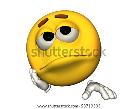3D illustration of a sad emoticon