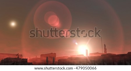 3d illustration of a sand storm in a futuristic Martian city