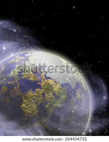 3D illustration of a Sci-Fi background.  Featuring a giant purple and yellow planet, nebula over a black star field. - stock photo