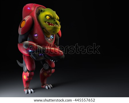 3d illustration of a science fiction creature standing with a gun in his hand - stock photo