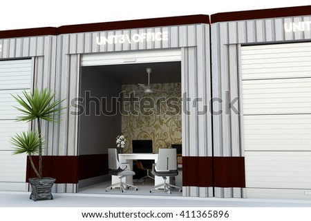 3d illustration of a self storage office isolated on white background