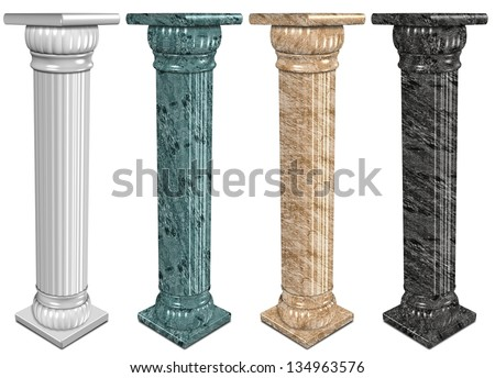 3d illustration of a set of marble columns / Marble columns - stock photo