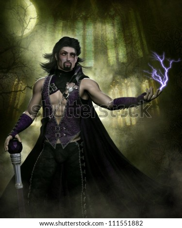 3D illustration of a sexy male vampire wearing a dark purple pants, purple cloak that has a silver wolf head clasp.  He has long black hair and a close beard and is holding a purple jeweled cane.
