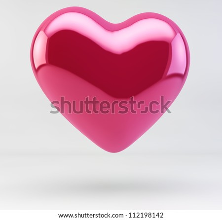 3d Illustration of a Shiny Red Pink Heart isolated on white background - stock photo