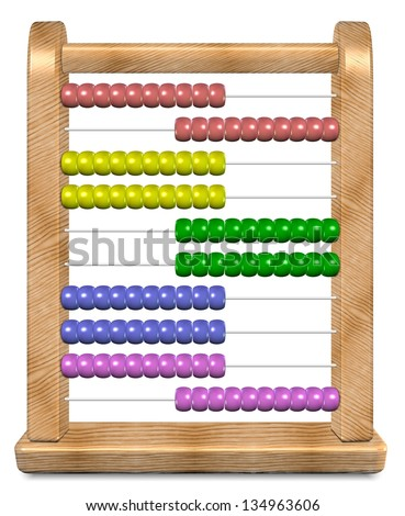 3d illustration of a shiny wooden abacus / Abacus - stock photo
