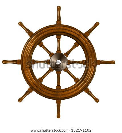 3d illustration of a ship wheel on the white background / Ship wheel - stock photo