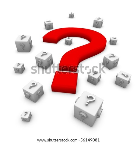 3d illustration of a sign question on a white background - stock photo