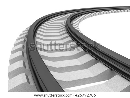 3D Illustration of a Single curved railroad track isolated - stock photo