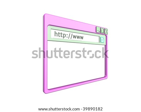3d Illustration of a single internet browser window, isolated on a white background. Part of a series of browser window, and internet concept images. - stock photo