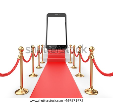 3D Illustration of a Staircase covered with red carpet with barrier rope and modern smartphone on top front view