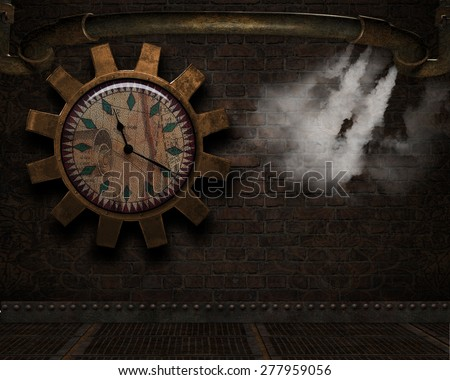 3D illustration of a Steampunk Background.  Giant clock surrounded by a gear and old rusty pipe with steam coming out over a grungy brick background.  Perfect for your renders or photo-manipulations.  - stock photo