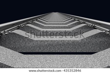 3D Illustration of a straight railroad track on dark - stock photo