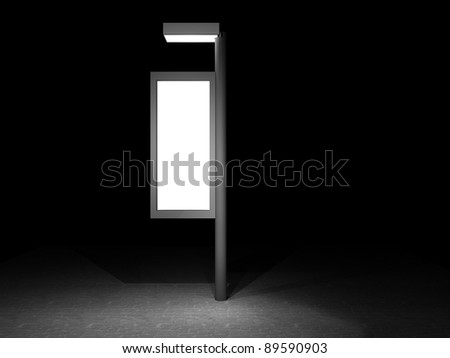 3d illustration of a street advertising panel at night - stock photo