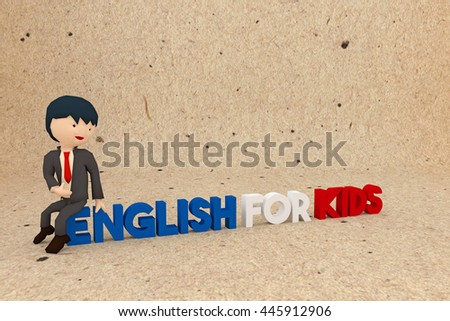 3d illustration of a teacher character inviting kids to learn english - stock photo