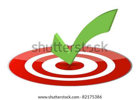3D illustration of a tick on a glossy target. - stock photo