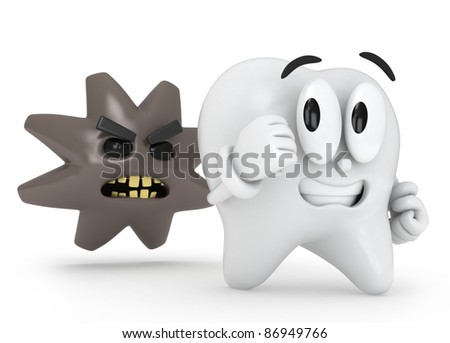 3D Illustration of a Tooth Running Away from Cavity - stock photo