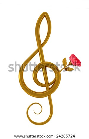 3d illustration of a treble clef with a pink rose over white background - stock photo