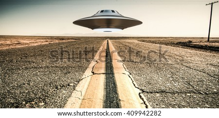 3d illustration of a unidentified flying object on a empty desert road. - stock photo