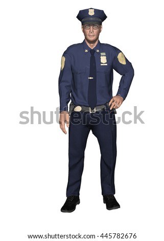 3D illustration of a uniform policeman standing casually with his hand on hip.