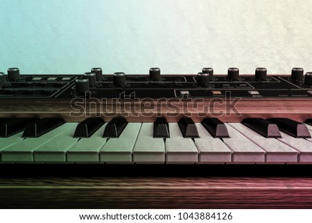 3d illustration of a vintage musical keyboard isolated on white background