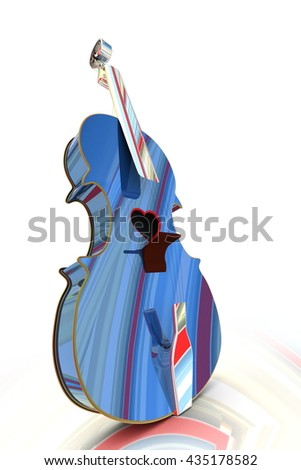 3D illustration of a Violin, musical instrument style for Valentine's day cards with a heart.