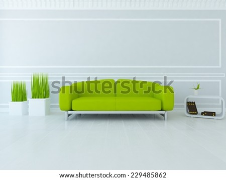 3D illustration of a white classic interior with green sofa