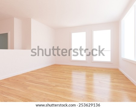 3D illustration of a white empty interior - stock photo