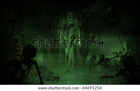 3d illustration of a witch in a dark and gloomy swamp cavern