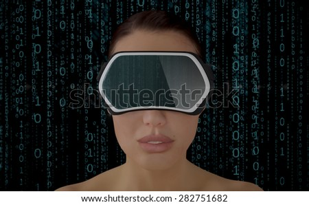 3D Illustration of a Woman wearing a Virtual reality head-mounted display (HMD) isolated on white background. - stock photo
