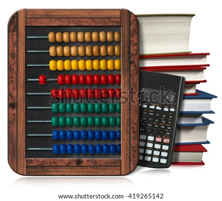 3D illustration of a wooden and colorful abacus, a stack of books and a modern calculator. Isolated on white background - stock photo