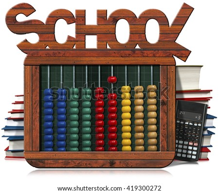 3D illustration of a wooden and colorful abacus, books, blackboard and a modern calculator. Isolated on white background - stock photo