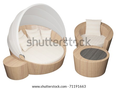 3D illustration of a wooden armchair and sofa with cushions, isolated against a white background - stock photo