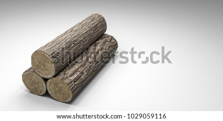 3d illustration of a wooden trunk section isolated on white background