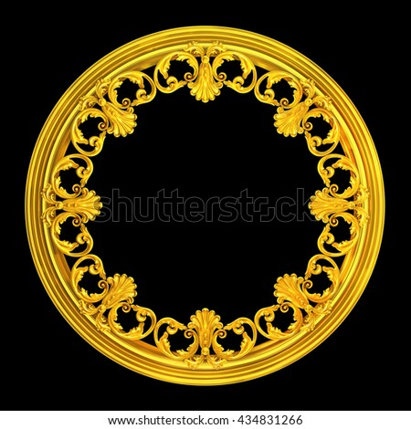 3d illustration of a wreath of gold leaves and flowers - stock photo