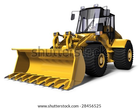 3d illustration of a yellow bulldozer - stock photo