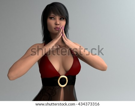 3d illustration of a young asian girl in fashion lingerie - stock photo