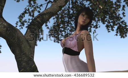 3d illustration of a young asian woman  - stock photo