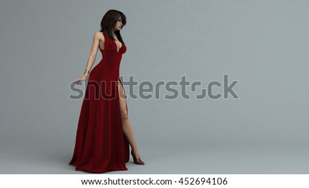 3d illustration of a young woman in red long dress - stock photo