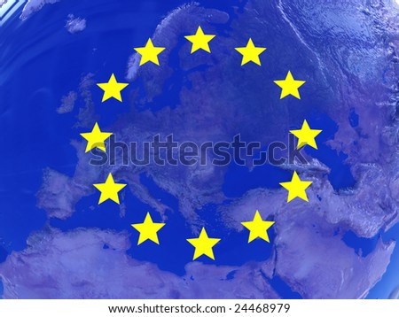 3d illustration of abstract background with european union symbols