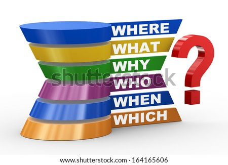 3d illustration of abstract design representation of various question words. - stock photo