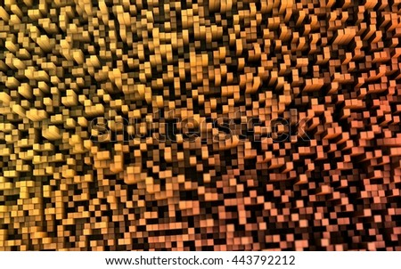 3D illustration of abstract macro render with shallow dept of field. Macro city - stock photo