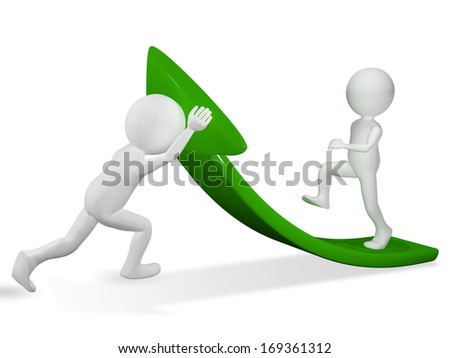 3d illustration of abstract man on green arrow