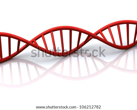 3d illustration of abstract red DNA spiral with reflection