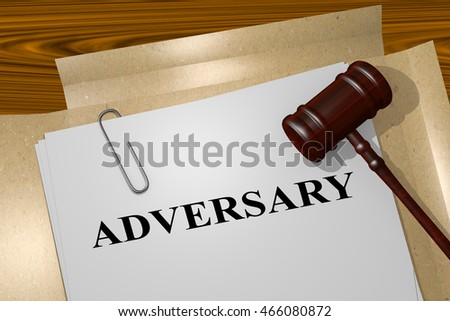"3D illustration of ""ADVERSARY"" title on legal document"