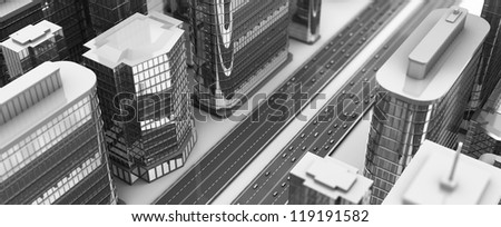 3d illustration of aerial city view, black and white colors - stock photo
