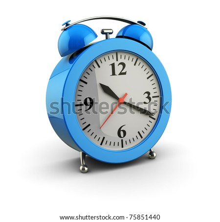3d illustration of alarm clock over white background - stock photo