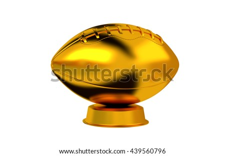 3D illustration of American Football trophy in Gold with a white background