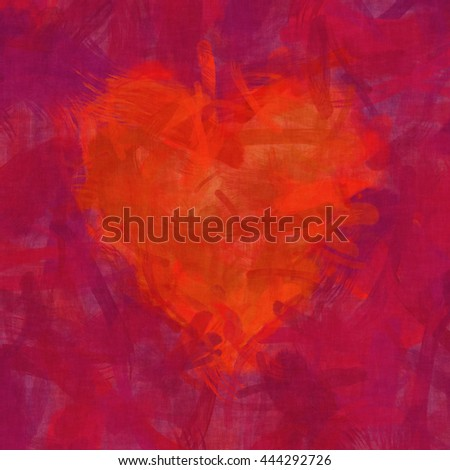 2D illustration of an abstract red heart brush strokes background - stock photo