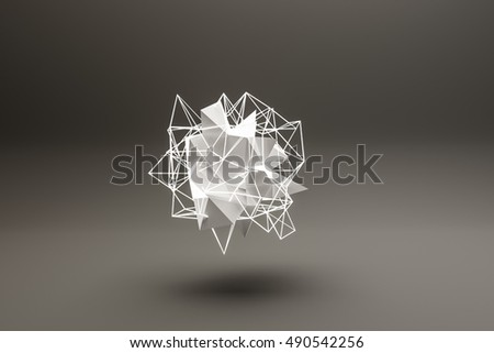 3d illustration of an abstract shape isolated on black background